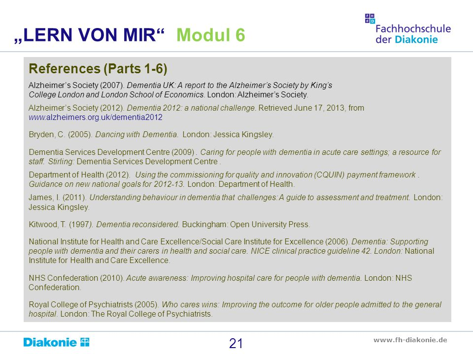"""LERN VON MIR Modul 6 References (Parts 1-6)"