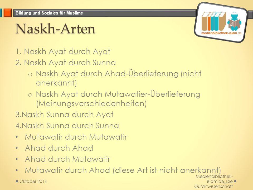 Naskh-Arten 1. Naskh Ayat durch Ayat 2. Naskh Ayat durch Sunna