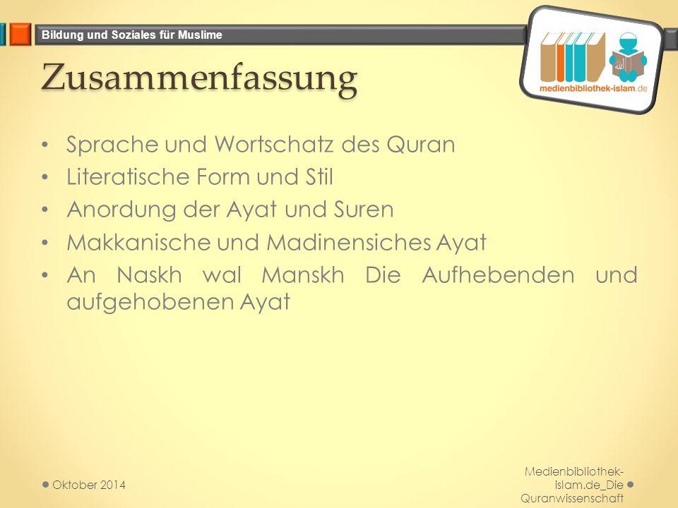 Zusammenfassung Sprache und Wortschatz des Quran