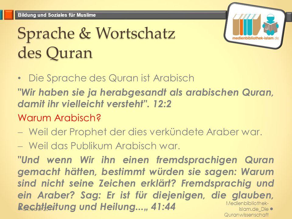 Sprache & Wortschatz des Quran