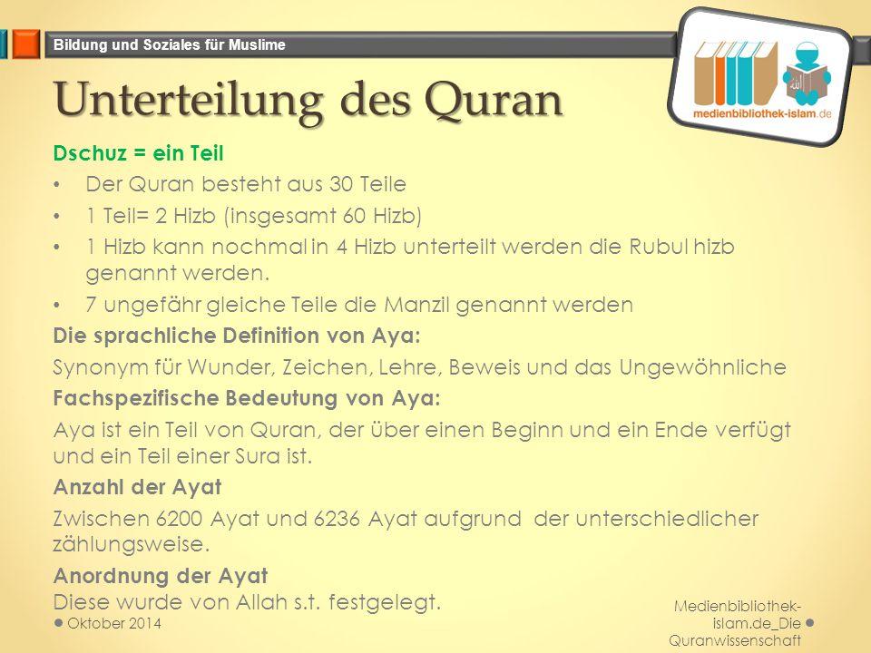 Unterteilung des Quran