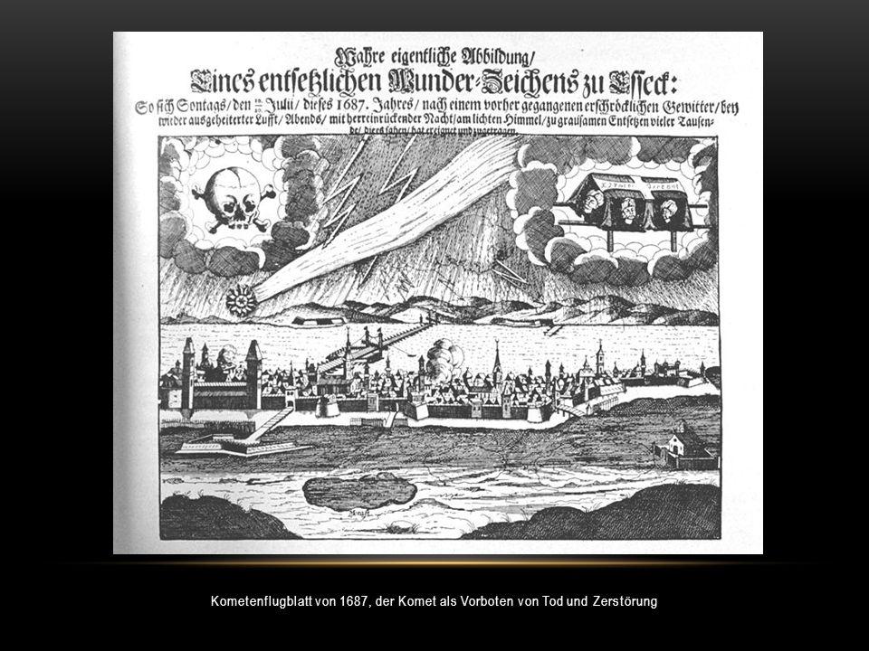 Kometenflugblatt von 1687, der Komet als Vorboten von Tod und Zerstörung