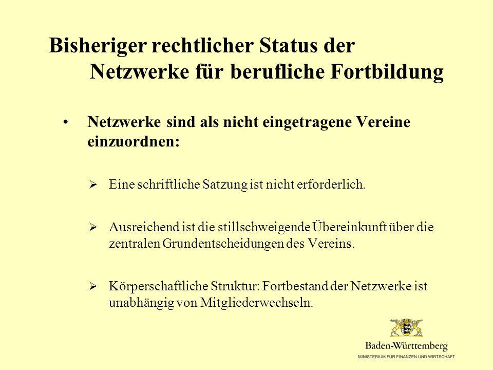 Bisheriger rechtlicher Status der Netzwerke für berufliche Fortbildung