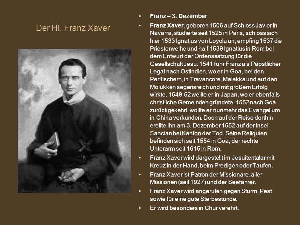 Der Hl. Franz Xaver Franz – 3. Dezember