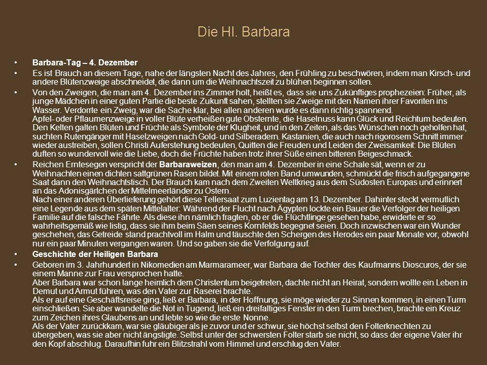 Die Hl. Barbara Barbara-Tag – 4. Dezember