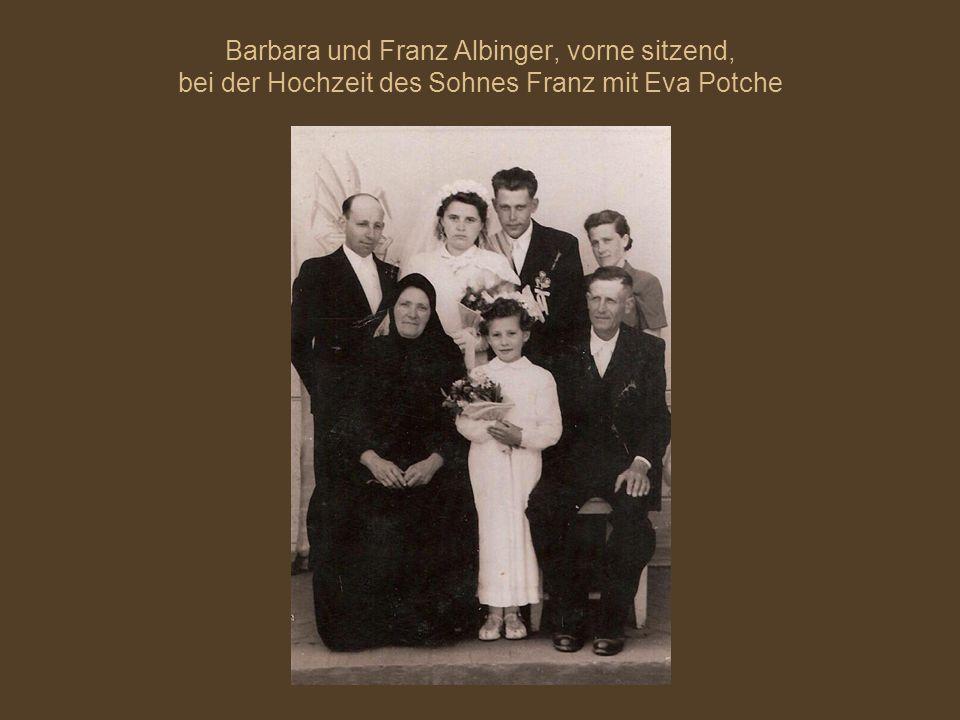Barbara und Franz Albinger, vorne sitzend, bei der Hochzeit des Sohnes Franz mit Eva Potche