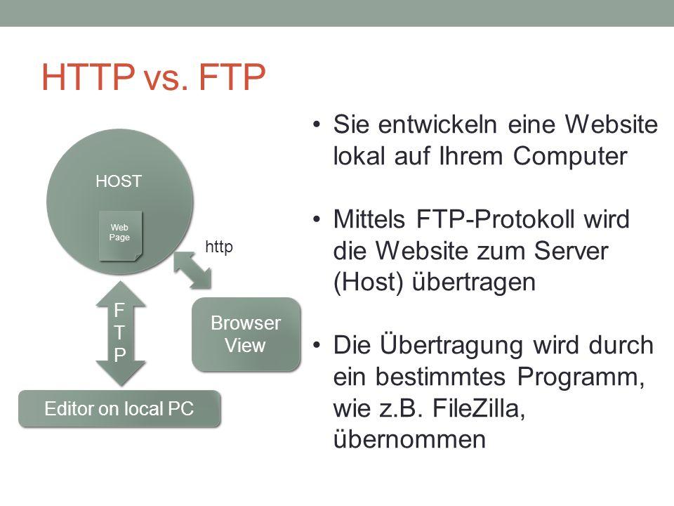 HTTP vs. FTP Sie entwickeln eine Website lokal auf Ihrem Computer