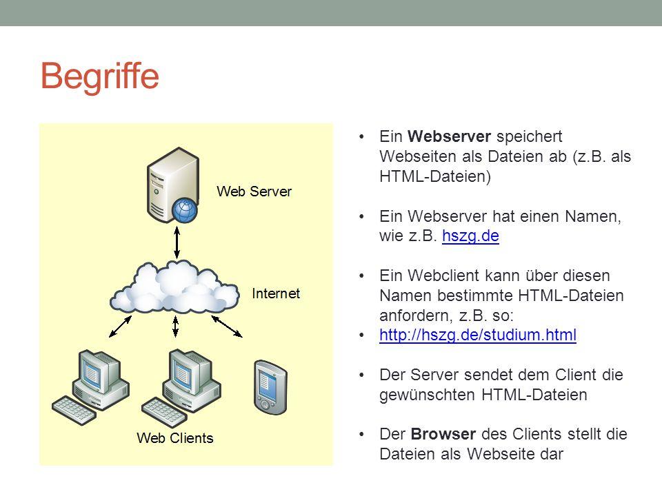 Begriffe Ein Webserver speichert Webseiten als Dateien ab (z.B. als HTML-Dateien) Ein Webserver hat einen Namen, wie z.B. hszg.de.