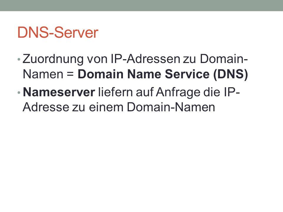 DNS-Server Zuordnung von IP-Adressen zu Domain-Namen = Domain Name Service (DNS) Nameserver liefern auf Anfrage die IP-Adresse zu einem Domain-Namen.