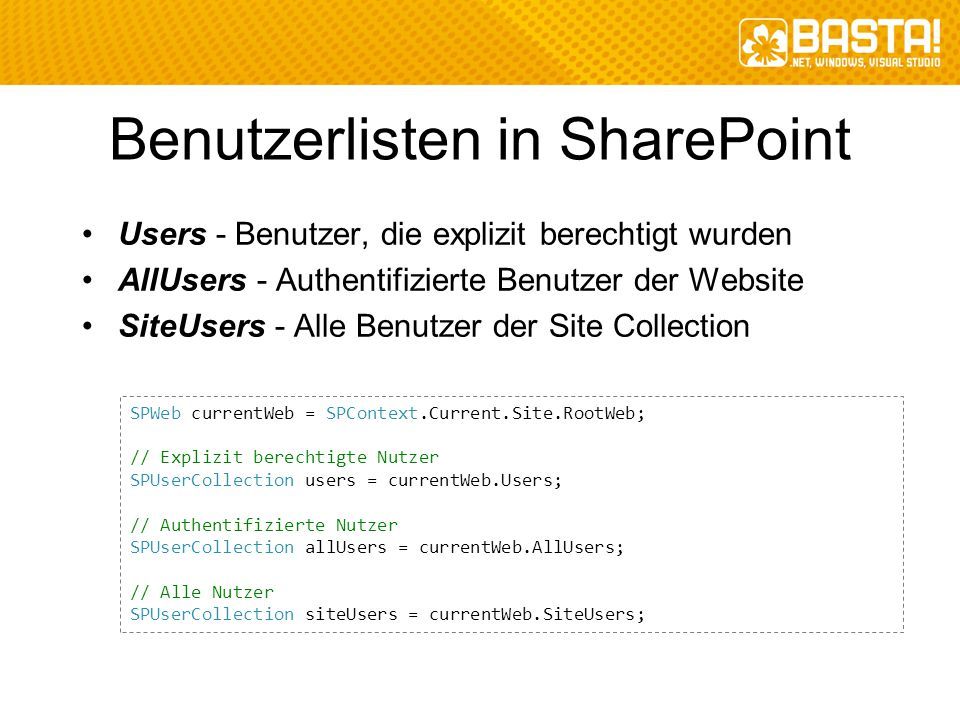 Benutzerlisten in SharePoint