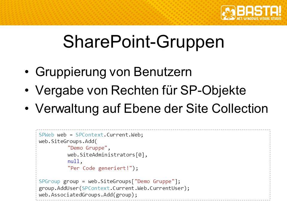 SharePoint-Gruppen Gruppierung von Benutzern