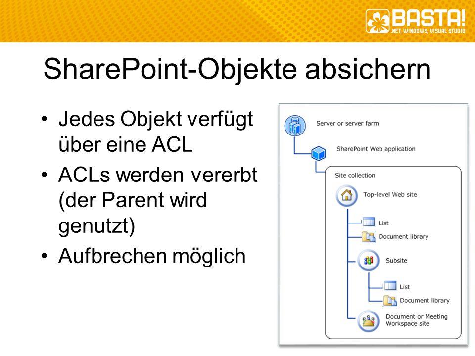 SharePoint-Objekte absichern