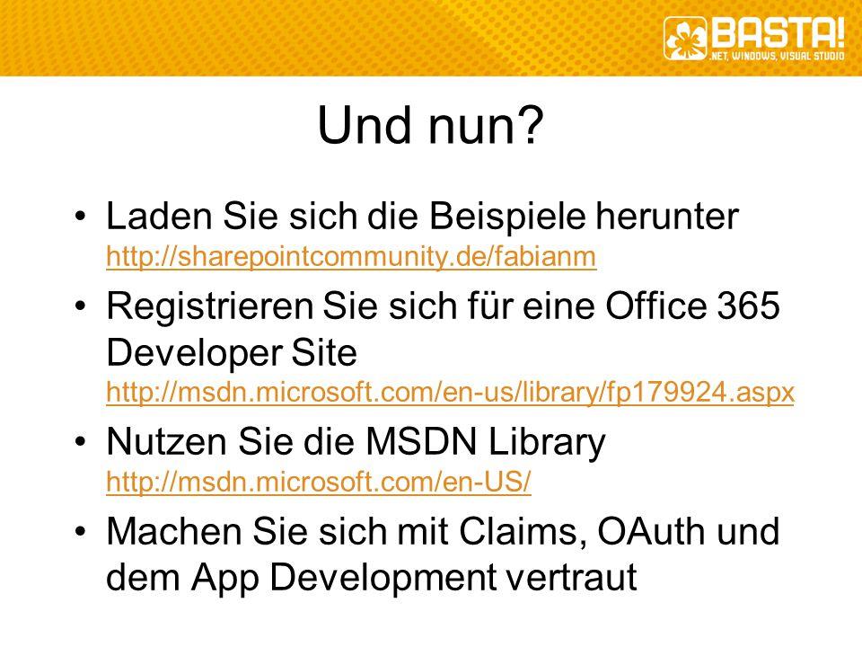 Und nun Laden Sie sich die Beispiele herunter http://sharepointcommunity.de/fabianm.