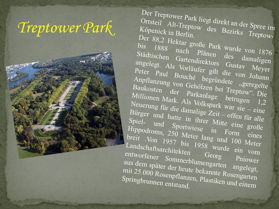 Der Treptower Park liegt direkt an der Spree im Ortsteil Alt-Treptow des Bezirks Treptow-Köpenick in Berlin.