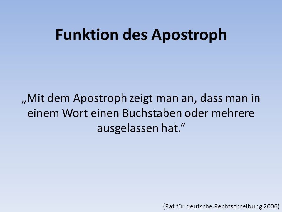 Funktion des Apostroph