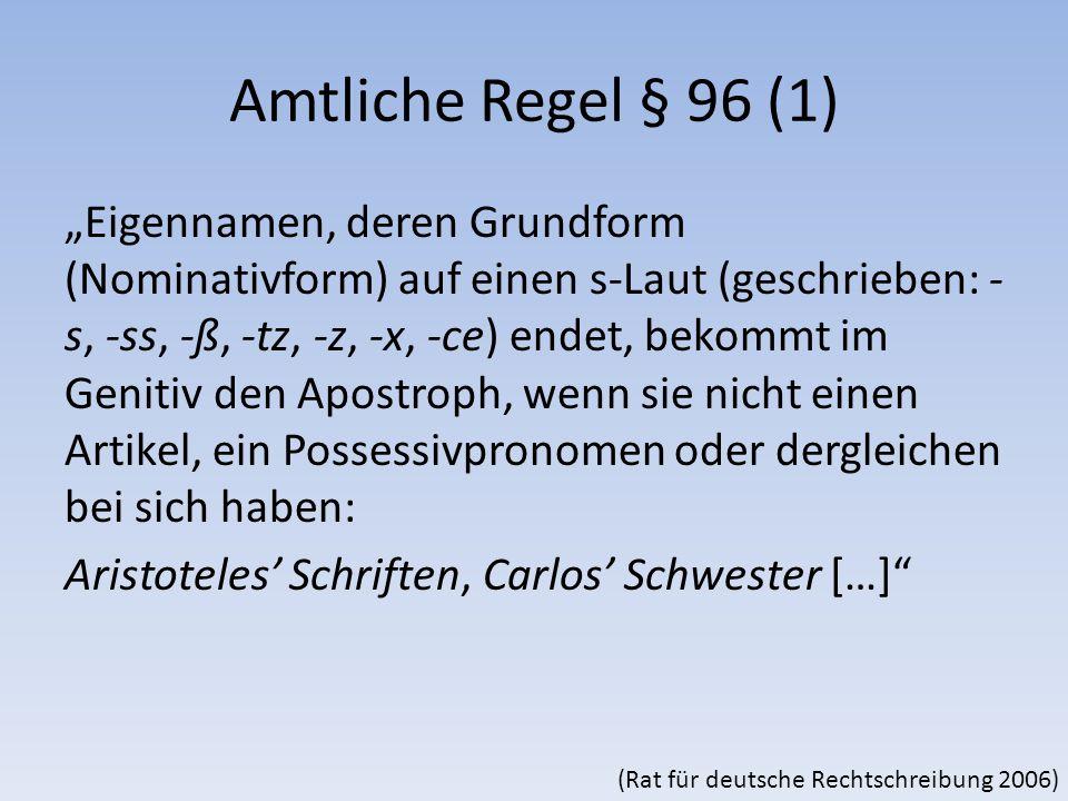 Amtliche Regel § 96 (1)