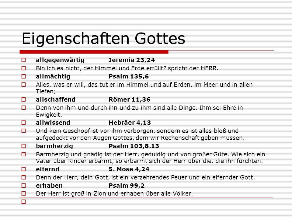 Eigenschaften Gottes allgegenwärtig Jeremia 23,24