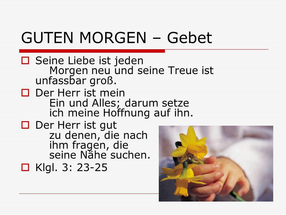 GUTEN MORGEN – Gebet Seine Liebe ist jeden Morgen neu und seine Treue ist unfassbar groß.