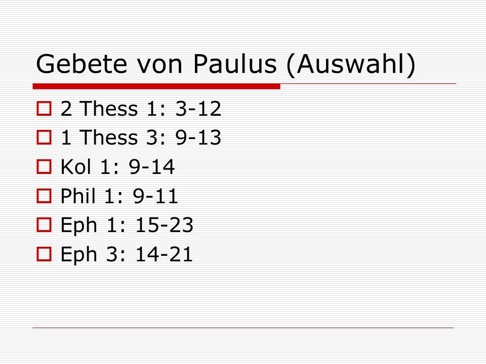 Gebete von Paulus (Auswahl)
