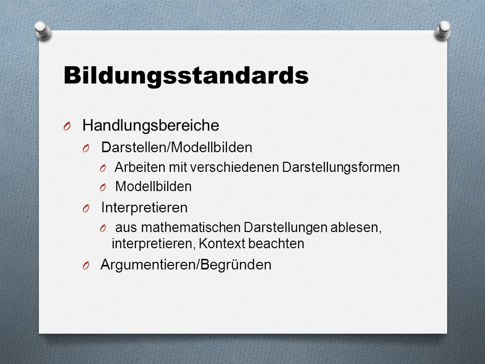 Bildungsstandards Handlungsbereiche Darstellen/Modellbilden