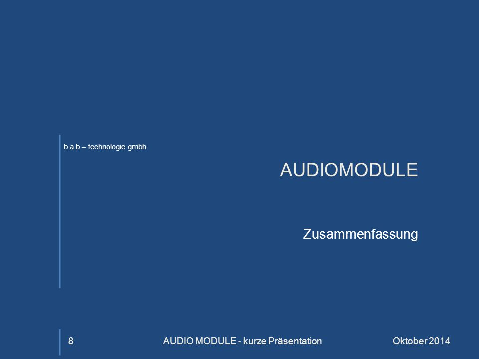 AUDIO MODULE - kurze Präsentation
