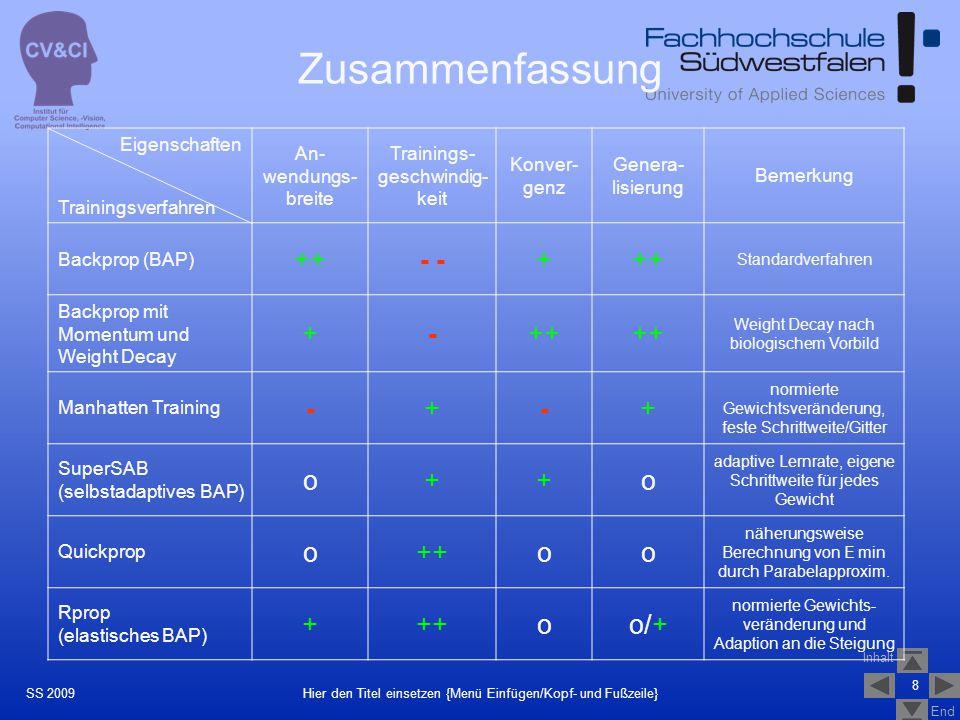Zusammenfassung ++ - - + - o o/+ Eigenschaften Trainingsverfahren