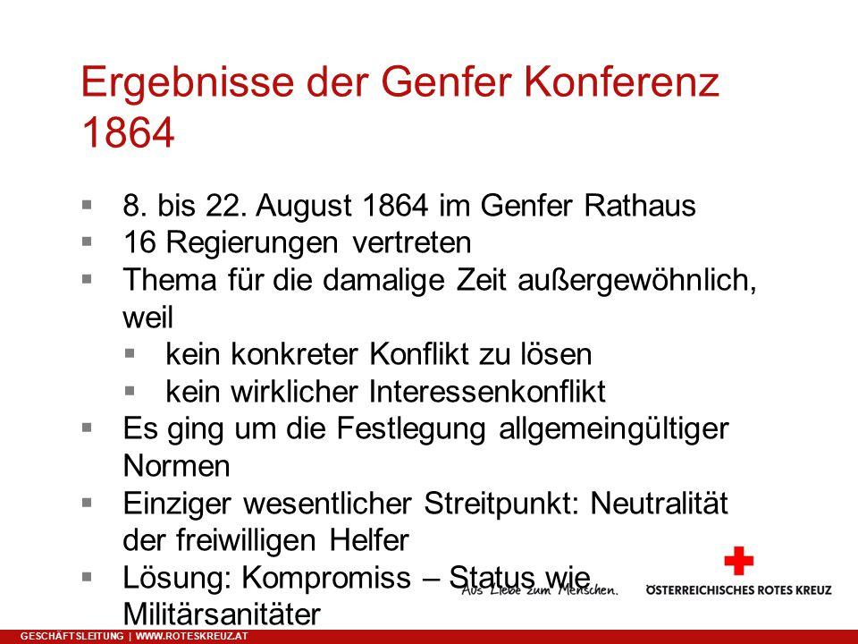 Ergebnisse der Genfer Konferenz 1864