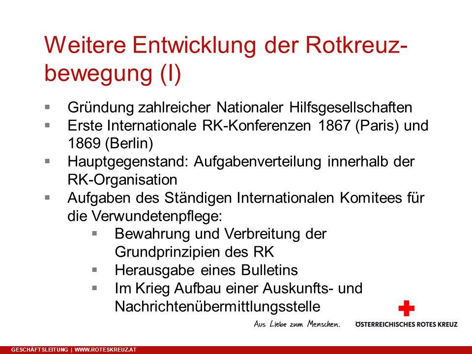 Weitere Entwicklung der Rotkreuz-bewegung (I)