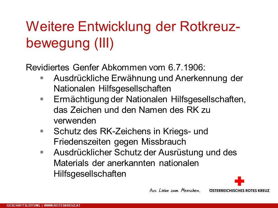 Weitere Entwicklung der Rotkreuz-bewegung (III)