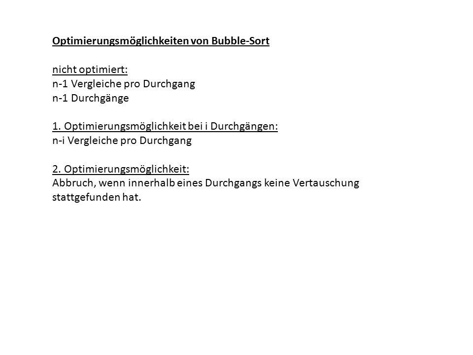 Optimierungsmöglichkeiten von Bubble-Sort