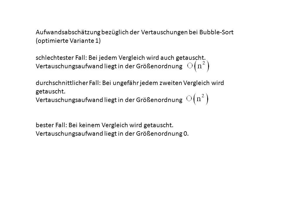 Aufwandsabschätzung bezüglich der Vertauschungen bei Bubble-Sort (optimierte Variante 1)