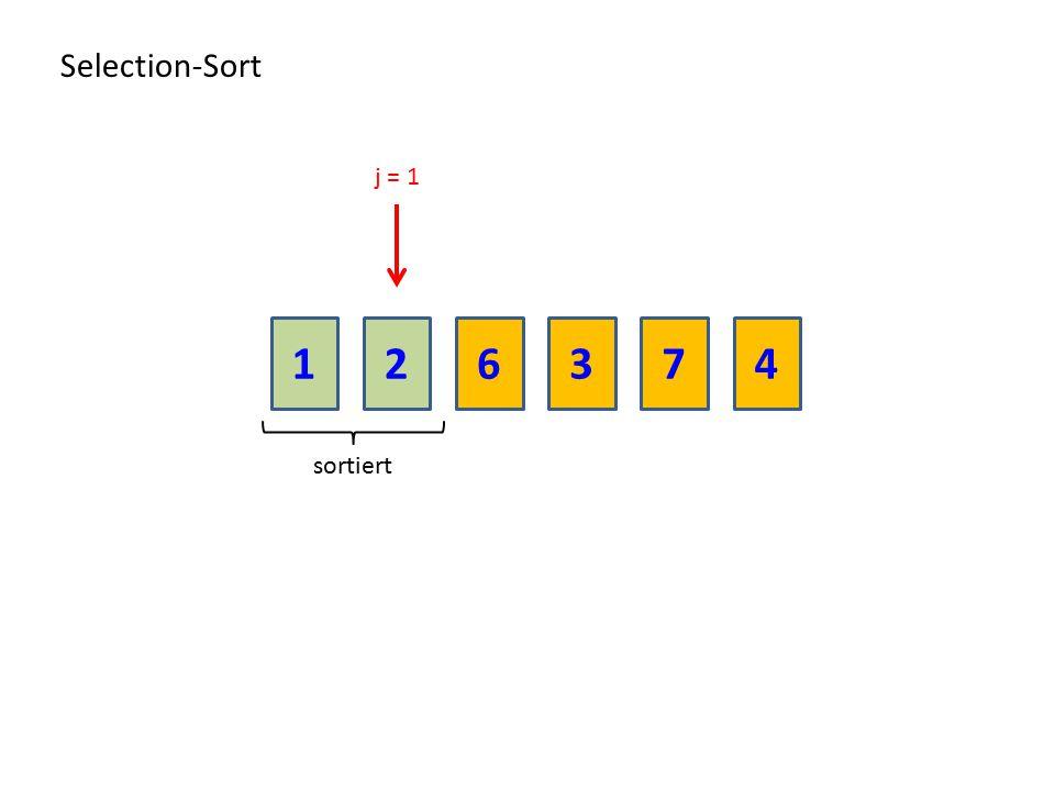 Selection-Sort j = 1 1 2 6 3 7 4 sortiert