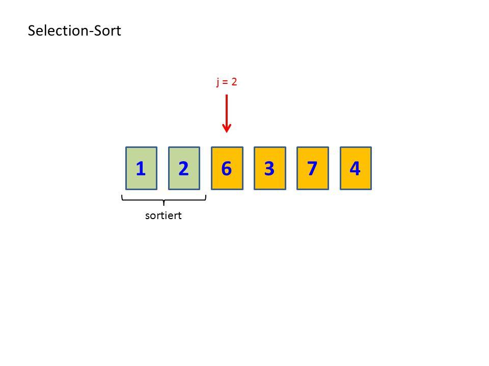 Selection-Sort j = 2 1 2 6 3 7 4 sortiert