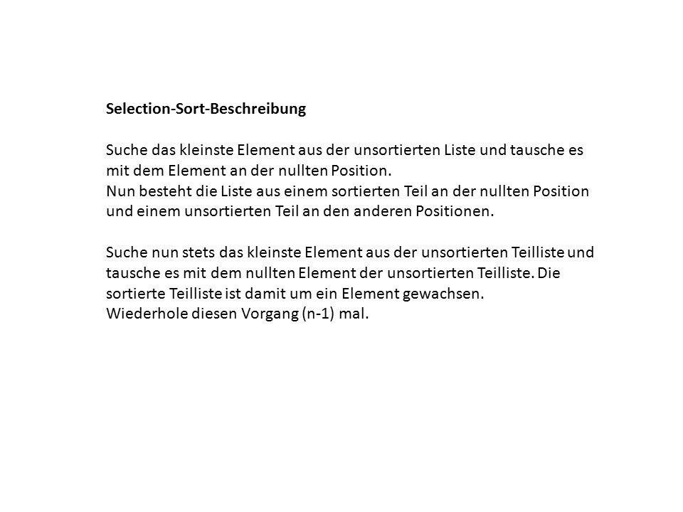 Selection-Sort-Beschreibung