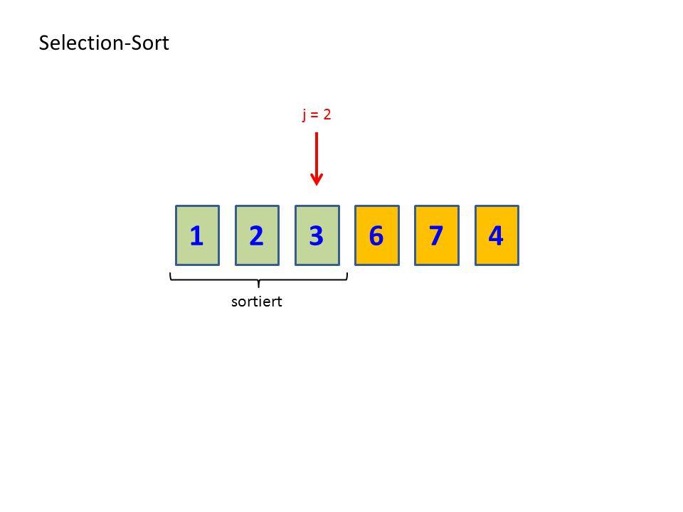 Selection-Sort j = 2 1 2 3 6 7 4 sortiert