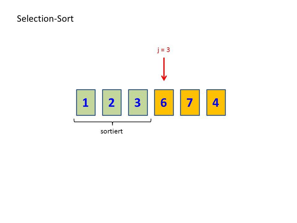 Selection-Sort j = 3 1 2 3 6 7 4 sortiert