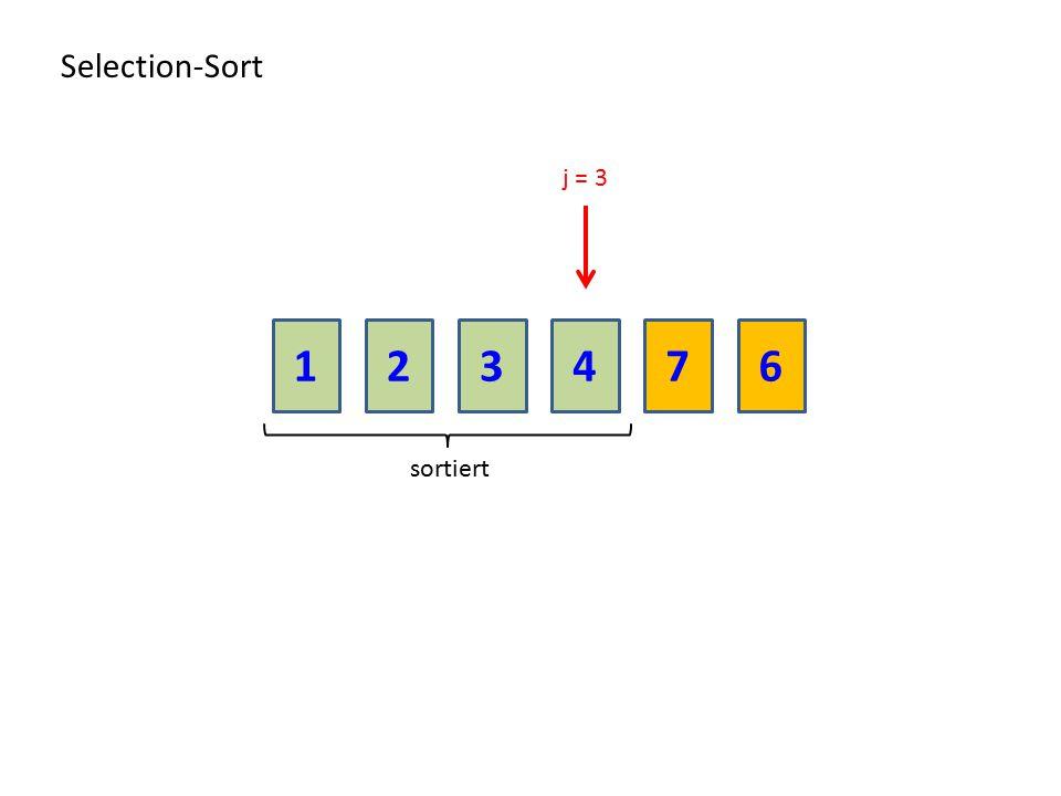 Selection-Sort j = 3 1 2 3 4 7 6 sortiert