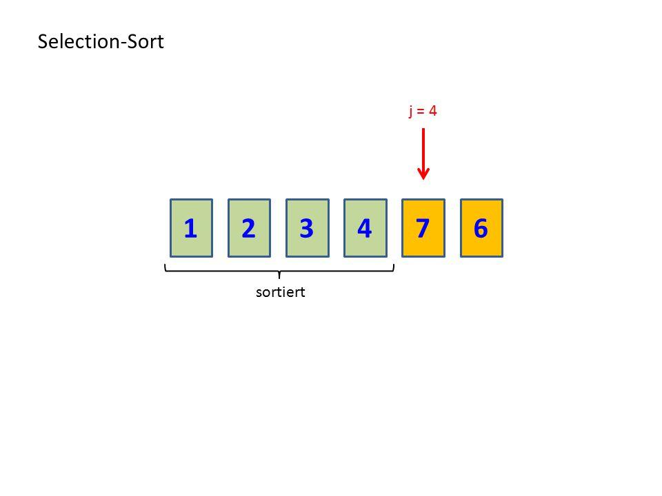 Selection-Sort j = 4 1 2 3 4 7 6 sortiert
