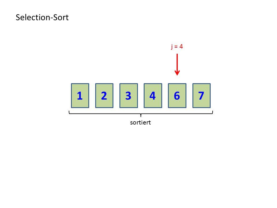 Selection-Sort j = 4 1 2 3 4 6 7 sortiert