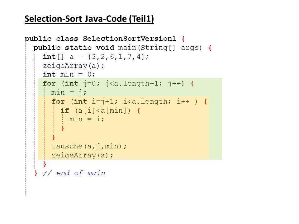 Selection-Sort Java-Code (Teil1)