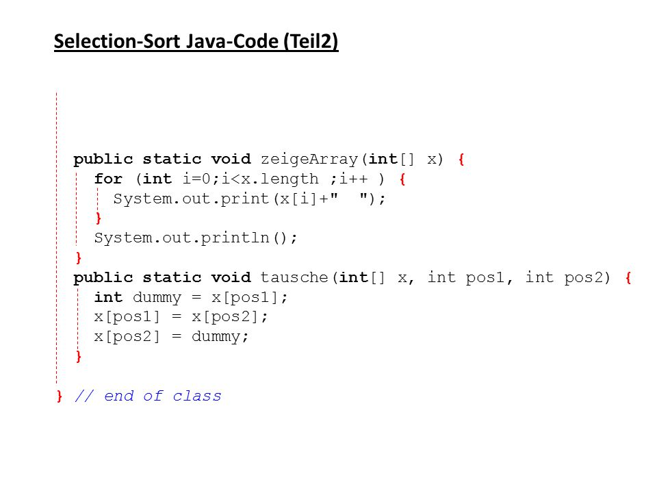 Selection-Sort Java-Code (Teil2)