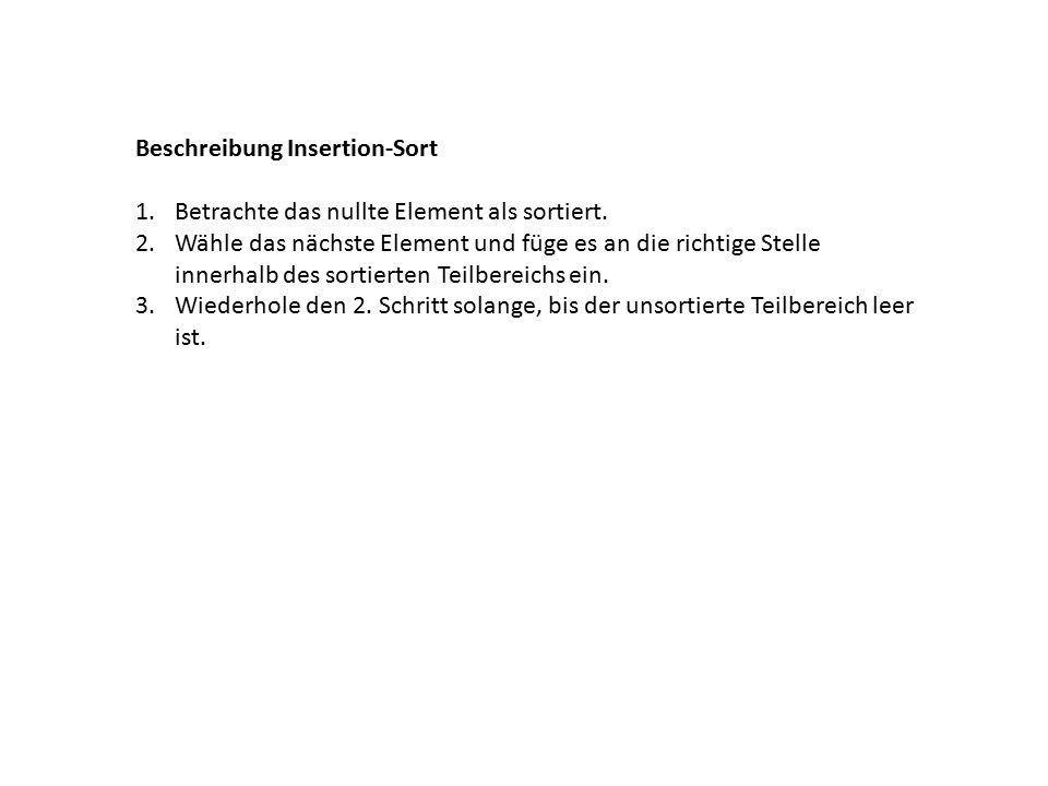 Beschreibung Insertion-Sort