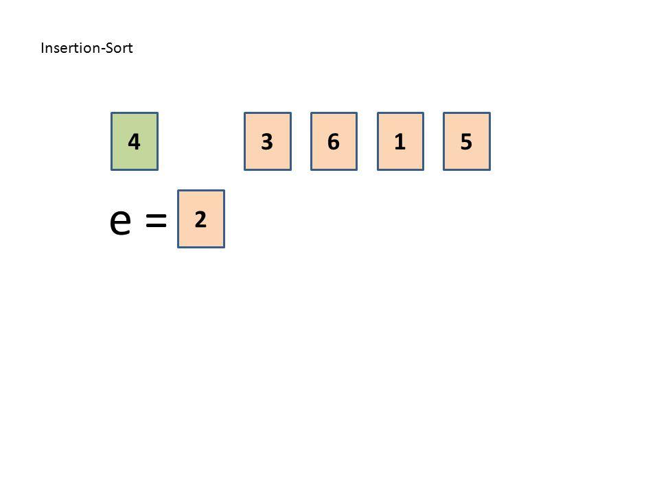 Insertion-Sort 4 3 6 1 5 e = 2