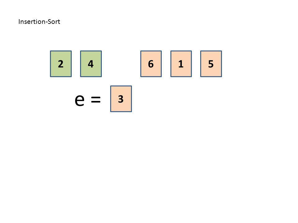 Insertion-Sort 2 4 6 1 5 e = 3
