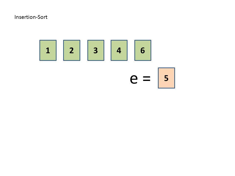 Insertion-Sort 1 2 3 4 6 e = 5