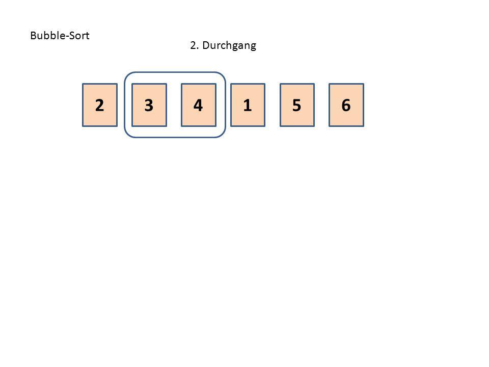 Bubble-Sort 2. Durchgang 2 3 4 1 5 6