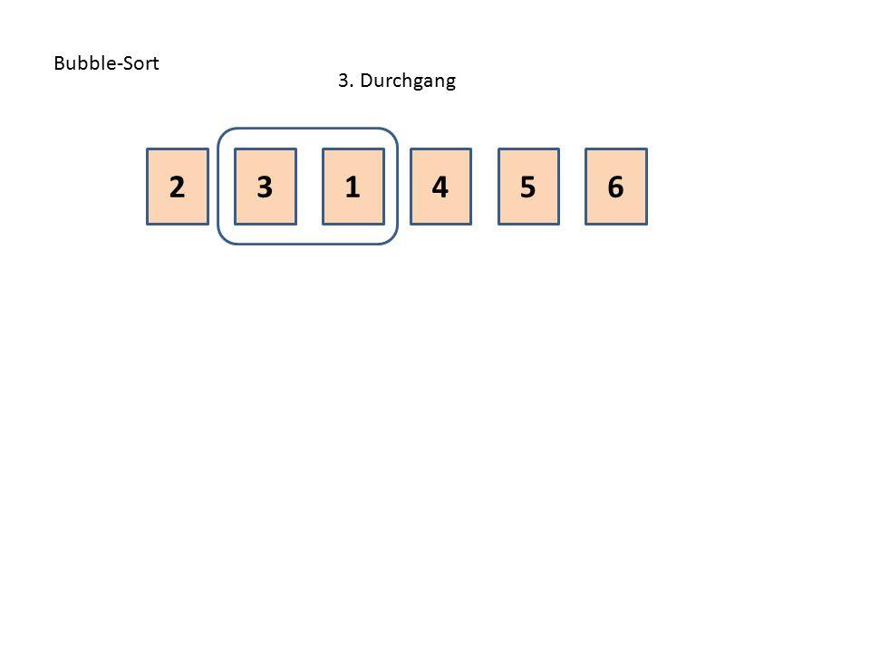 Bubble-Sort 3. Durchgang 2 3 1 4 5 6