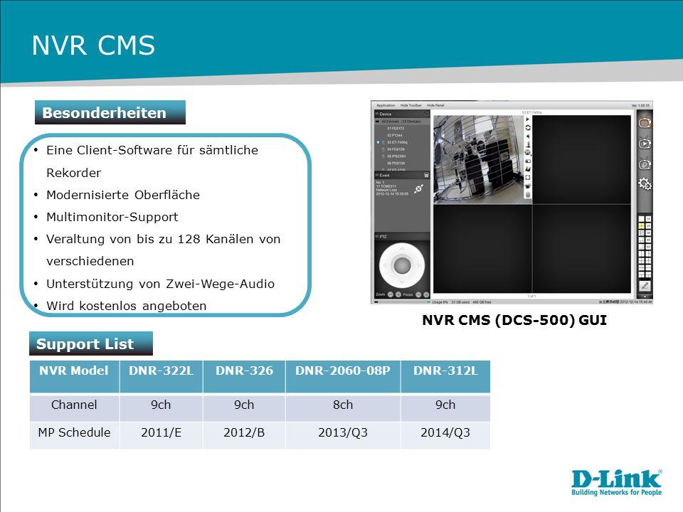 NVR CMS Besonderheiten Support List NVR CMS (DCS-500) GUI