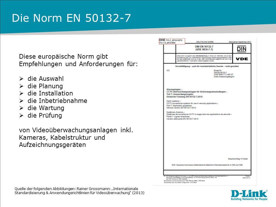 Die Norm EN 50132-7 Diese europäische Norm gibt Empfehlungen und Anforderungen für: die Auswahl. die Planung.