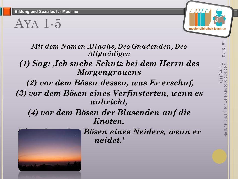 Aya 1-5 (1) Sag: 'Ich suche Schutz bei dem Herrn des Morgengrauens